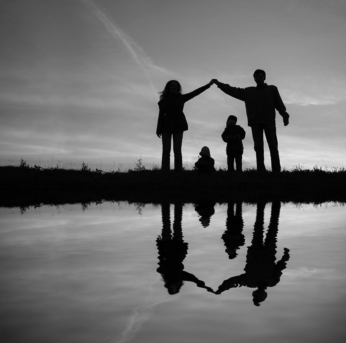 Family near pond