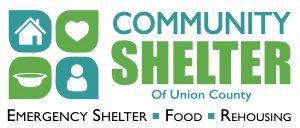 Community Shelter of Union County logo. Emergency Shelter, Food, and Rehousing.